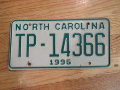 1996 North Carolina License Plate # TP-14366 Original
