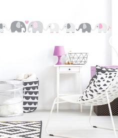 """Lovely Label Samolepící tapeta na zed """"Sloni"""" - bílá s šedo-růžovými slony"""