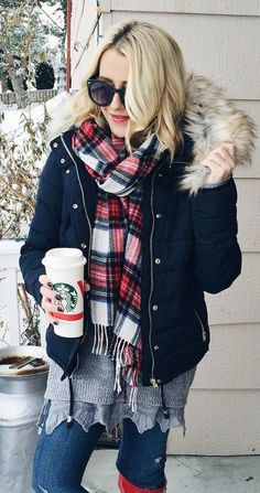 #winter #fashion /  Black Jacket / Printed Fringe Scarf / Ripped Skinny Jeans