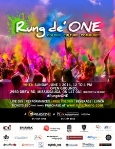 #RungDeONE Welcome the summer with colours and celebrate the true spirit of being ONE - http://events.sandhira.com/rung-de-one-mississauga-76174.html