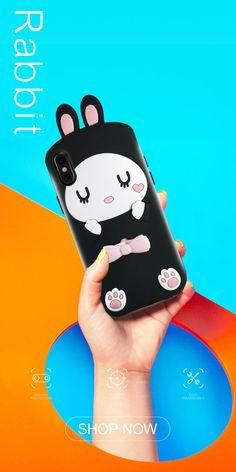 Giraffe&Rabbit Animal Cartoon Soft Silicone Cover Cute iPhone Ca Rabbit Shop, Pink Rabbit, 3d Cartoon, How To Look Pretty, Compliments, Giraffe, Smartphone, Shell, Iphone Cases