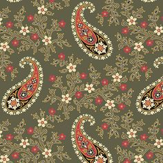 Catherine - Half Yard - Jo Morton -Deep Olive Green With Paisley Design Jo Morton Designer Quilting