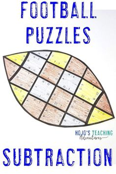 These subtraction football puzzles are a great way to celebrate the NFL season, college bowl games, the big homecoming game at your local school, the Super Bowl, or to use for the football fanatic in your 1st, 2nd, or 3rd grade classroom or homeschool. Plus there are great FREE downloads, book ideas, math, reading, social studies, food ideas, and more included at this blog post. Click through now to see how your first, second, or third grade students can have some football fun. #football Father's Day Activities, Classroom Activities, Classroom Ideas, Teaching Subtraction, Halloween Math, 3rd Grade Classroom, Home Schooling, Fast Finishers, Math Centers