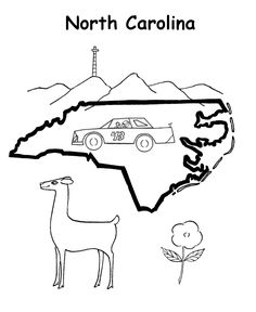 north carolina state outline coloring page