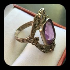 Antique Amethyst Ring Look at the details on this ring especially the band which has a weaved designit has Marcasites and a large rectangular shaped amethystSize 5.5 Vintage Jewelry Rings