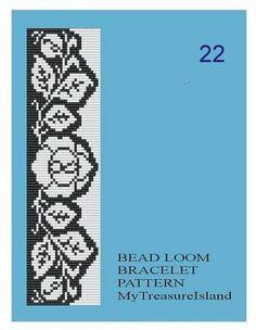 Bead Loom Vintage Motif 18 21 22 23 by MyTreasureIsland on Etsy Loom Bracelet Patterns, Beaded Necklace Patterns, Bead Loom Bracelets, Bead Loom Patterns, Woven Bracelets, Peyote Patterns, Beading Patterns, Seed Bead Flowers, Beads Pictures