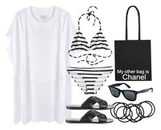 """""""Style #8350"""" by vany-alvarado ❤ liked on Polyvore featuring H&M, Maison Margiela, Ancient Greek Sandals, Calypso Private Label, Chanel, Ray-Ban, women's clothing, women, female and woman"""