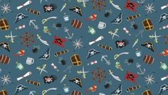 Makower - Pirate all over scatter design on a blue background, cotton from the Makower Pirates cotton collection Pirate Treasure, Treasure Maps, Pirate Quilt, Pirate Sword, Andover Fabrics, Cotton Quilting Fabric, Pirate Theme, Fabulous Fabrics, E Bay