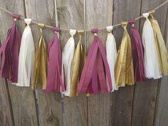 Vanilla Burgundy and Gold tassel garland, Harry potter party decor, first birthday, vintage airplane party, burgundy tassel garland, dorm