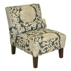 This armless chair would be pretty in a  Bedroom and the muted grey and cream pattern bring some elegance in too. (home depot.ca)
