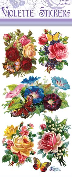 Butterfly Flowers Sticker Package 2 sheets from от tcastle1