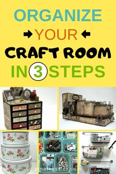 Complete an awesome craft room makeover in only 3 steps with these organization . - Complete an awesome craft room makeover in only 3 steps with these organization tips! Craft Storage Containers, Craft Storage Solutions, Storage Ideas, Craft Storage Furniture, Craft Room Storage, Craft Rooms, Space Crafts, Fun Crafts, Craft Space