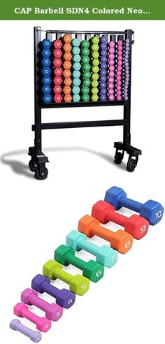 CAP Barbell SDN4 Colored Neoprene Aerobic Hex Dumbbell Club Pack (456 lbs) with RK-10 Storage Rack for Group Fitness. Multi-Color Hexagonal Neoprene Dumbbell Club Pack by CAP Barbell - Multi-color neoprene coated dumbbells are light weight and easy to grip for long periods of time. CAP Barbell SDN4 series neoprene aerobic dumbbells are perfect for total body toning and strengthening, cardio pump, step aerobics, group fitness training, personal training, aerobic strength training, power...