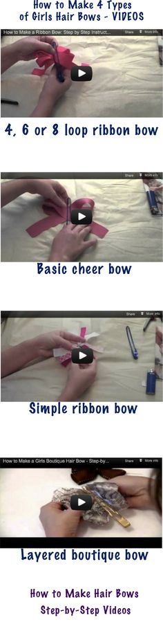 http://www.howtomakehairbowseasy.com/how-to-make-hair-bows-4-video-tutorials-for-easy-to-make-bows - Learn how to make hair bows. 4 video tutorials to make beautiful girls bows