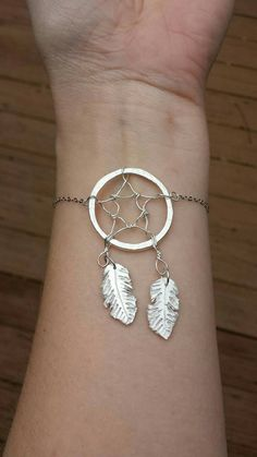 Dream Catcher Bracelet - Fine Silver Bracelet , Native American Inspired jewelry - Modern bracelet - Wire wrapped bracelet - Silver jewelry