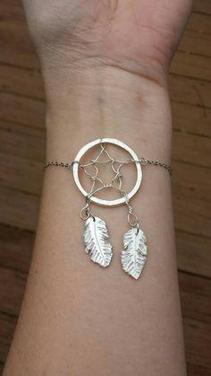 Dream Catcher Bracelet - Fine Silver Bracelet , Native American Inspired jewelry - Modern bracelet - Wire wrapped bracelet - Silver jewelry