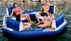 Floating Island Pool Lake Party Station 4 Person Giant Water Tube Raft Lounge  #Intex