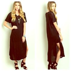 "PRICE DROPPIN! RESTOCKED Cape Shirtdress NWOT Back by popular demand! These maxis ROCK!  100% Linen. Sexy side slit, semi sheer Maxi shirt dress.  Availability: 3XS 6S 6M 3L  Measurements: Length 49"" Bust 38"" Waist 36""  Available in BLACK, BURNT ORANGE and TAN. This listing is for BLACK. Striped semi Pleated Maxi Tunic Dress. Crochet Embellished. Marled. Black and White. Shirt dress. Sheath FashionBohoLoco Dresses Maxi"