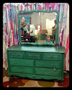 etsy JsFourLeaf   French provincial dresser with mirror