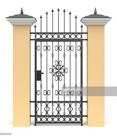 Stock Photo : 3d gate with wrought iron decor