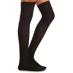 Charlotte Russe Textured Striped Ruffle Over-the-Knee Socks ($8.99) ❤ liked on Polyvore featuring intimates, hosiery, socks, black, ribbed over the knee socks, black striped socks, black thigh-high socks, over-the-knee socks and striped socks