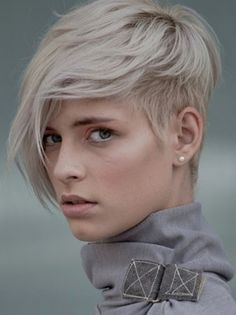 platinum blond short hair, youth short hairstyle with long bangs for girls