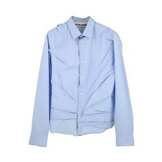 OTTOLINGER SHIRT SHRINK LIGHT BLUE ($155) ❤ liked on Polyvore featuring tops, cotton shirts, blue shirt, light blue top, shirt top and blue cotton shirt