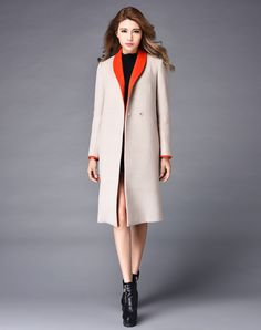 Simple fashion woolen coat 2016 winter new women s solid color V neck plus  size straight casual b0f97fb834