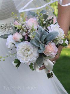 WEDDING BOUQUET BRIDAL VINTAGE PINK ROSE IVORY ARTIFICIAL SILK FLOWERS RIBBON