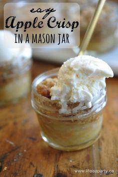 Apple Crisp -easy, fall dessert made in mini mason jars.  Perfect served warm with vanilla ice-cream.