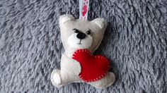 Felt Bear with Red Heart / Valentine Gift / by MyCraft2You on Etsy