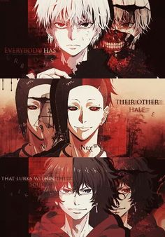 Tokyo Ghoul - Their other halves Characters, top to bottom: Kaneki Ken, Uta, Kirishima Ayato