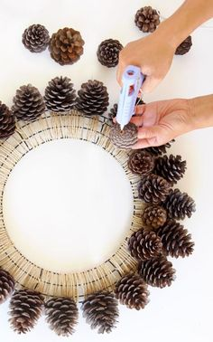 Easy & long lasting DIY pinecone wreath: beautiful as Thanksgiving & Christmas decorations & centerpieces. Great pine cone crafts for fall & winter! - A Piece of Rainbow Crafts Beautiful Fast & Easy DIY Pinecone Wreath ( Impro Wreath Crafts, Diy Wreath, Fall Crafts, Holiday Crafts, Christmas Diy, Diy And Crafts, Christmas Ornaments, Christmas Crafts With Pinecones, Tree Crafts