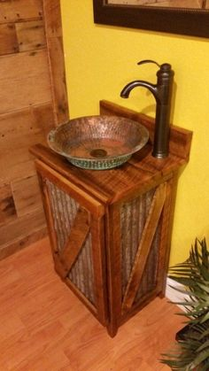Rustic Barn Wood and Weathered Tin Vanity with Hammered Copper Vessel Sink and Oil Rubbed Bronze Faucet - Decor Ideas Rustic Bathroom Lighting, Rustic Bathroom Designs, Rustic Bathroom Vanities, Bathroom Furniture, Rustic Furniture, Bathroom Ideas, Bathroom Shelves, Bathroom Cabinets, Wood Bathroom