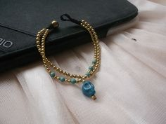 2 in 1 chains Blue turquoise skull pendant gold brass by Nannapatt, $6.50