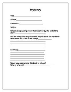 This is a 1 page product to record information after reading a mystery.