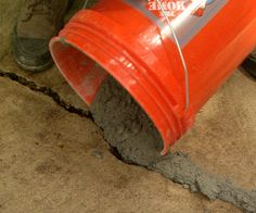 Pour the mixed concrete in the cracks and damaged areas.