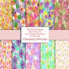 Digital Paper Pack FLOWER GARDENS Set of 10 by ChangingArtitudes