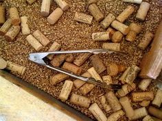 sensory table idea--corks and tongs. On a side note, I have been seeing a lot of cork activities, also! Corks and paint chips are the in things! Sensory Tubs, Sensory Boxes, Sensory Activities, Sensory Play, Activities For Kids, Baby Sensory, Indoor Activities, Play Based Learning, Learning Through Play