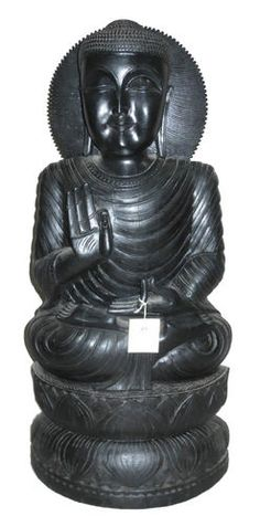 LARGE SIZE 78 CMS STATUE OF WOODEN BLACK LORD BUDDHA IN MEDITATION FORM