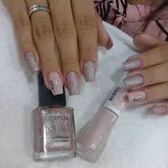 48 Pretty Acrylic Coffin Nails Design You Need To Try Love Nails, Pink Nails, Glitter Nails, Pretty Nails, Latest Nail Colours, Nail Colors, Clear Acrylic Nails, Nail Techniques, Manicure E Pedicure