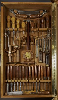Inspired by Chris Becksvoort's cabinet and the H. Studley cabinet, Campbell set out to display his tools well and make them easily accessible. The cabinet sits on Campbell's benchtop and […] Woodworking Tool Cabinet, Antique Woodworking Tools, Antique Tools, Old Tools, Woodworking Workshop, Fine Woodworking, Tool Storage Cabinets, Diy Garage Storage, Wood Tool Box