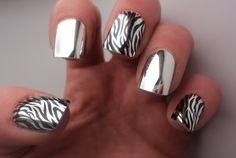 Silver and black animal print nails + mirrored nails!?