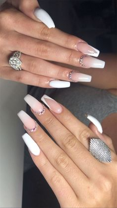 Gold Gel Nails, Acrylic Nails Coffin Pink, Square Acrylic Nails, Simple Acrylic Nails, Almond Acrylic Nails, Coffin Nails Long, Pink Nails, White Nails, French Tip Nail Designs
