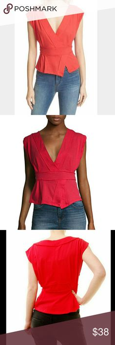 Free People Hemingway Faux Wrap Top Tulip XS NWT Free People Hemingway Crossover Faux Wrap Surplice Neckline Cotton Top Saturated Tulip Color Size Extra Small NWT, Hits At Hip, Loose Style, Cap Sleeves, Slit Up Hem, Perfect For Pairing Under Jean Jacket Or Cardigan, Unique Construction Free People Tops