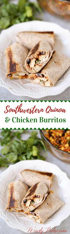 These Southwestern Quinoa and Chicken Burritos are a delicious meal that you will make time and again! Gluten Free with a vegan option. via @wendypolisi