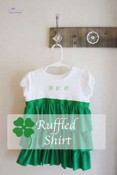 St. Patrick's Day ruffled shamrock clover shirt but this could be done any color for any season. <3 it!