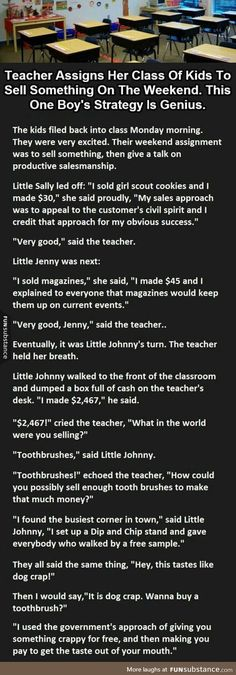 I like his approach, this kid is going places