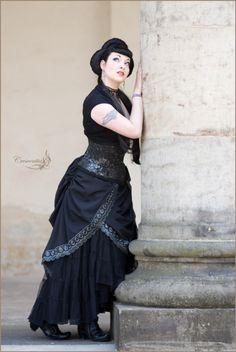 love the drape on the skirt