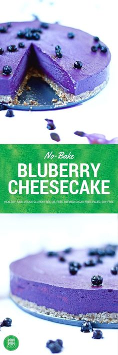 This no-bake blueberry cheesecake is decadently rich but bursting with fruity freshness at the same time. Plus the color is downright gorgeous. No Crust Cheesecake, Raw Vegan Cheesecake, Raw Vegan Cake, No Bake Blueberry Cheesecake, Raw Cake, Raw Vegan Desserts, Huckleberry Cheesecake, Vegan Treats, Paleo Dessert